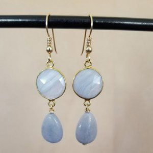 14k Gold Filled Angelite & Lace Agate Earrings